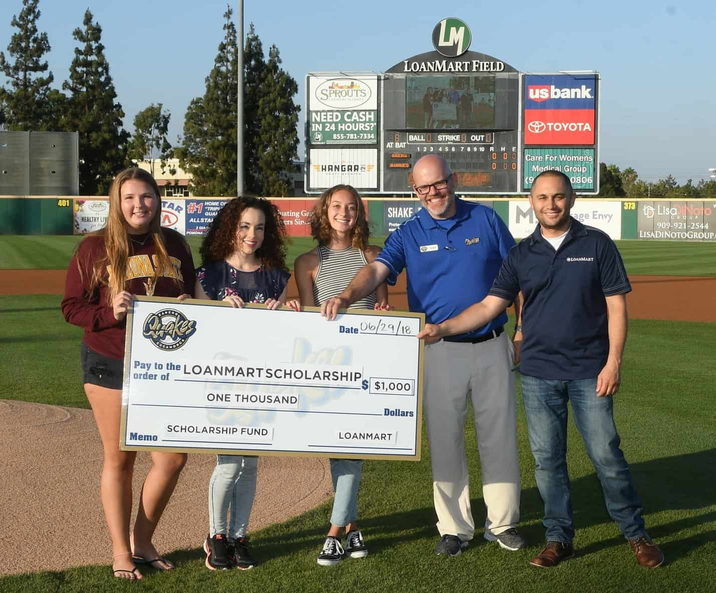 Quakes Game Recognizes 2018 LoanMart Scholarship Winners