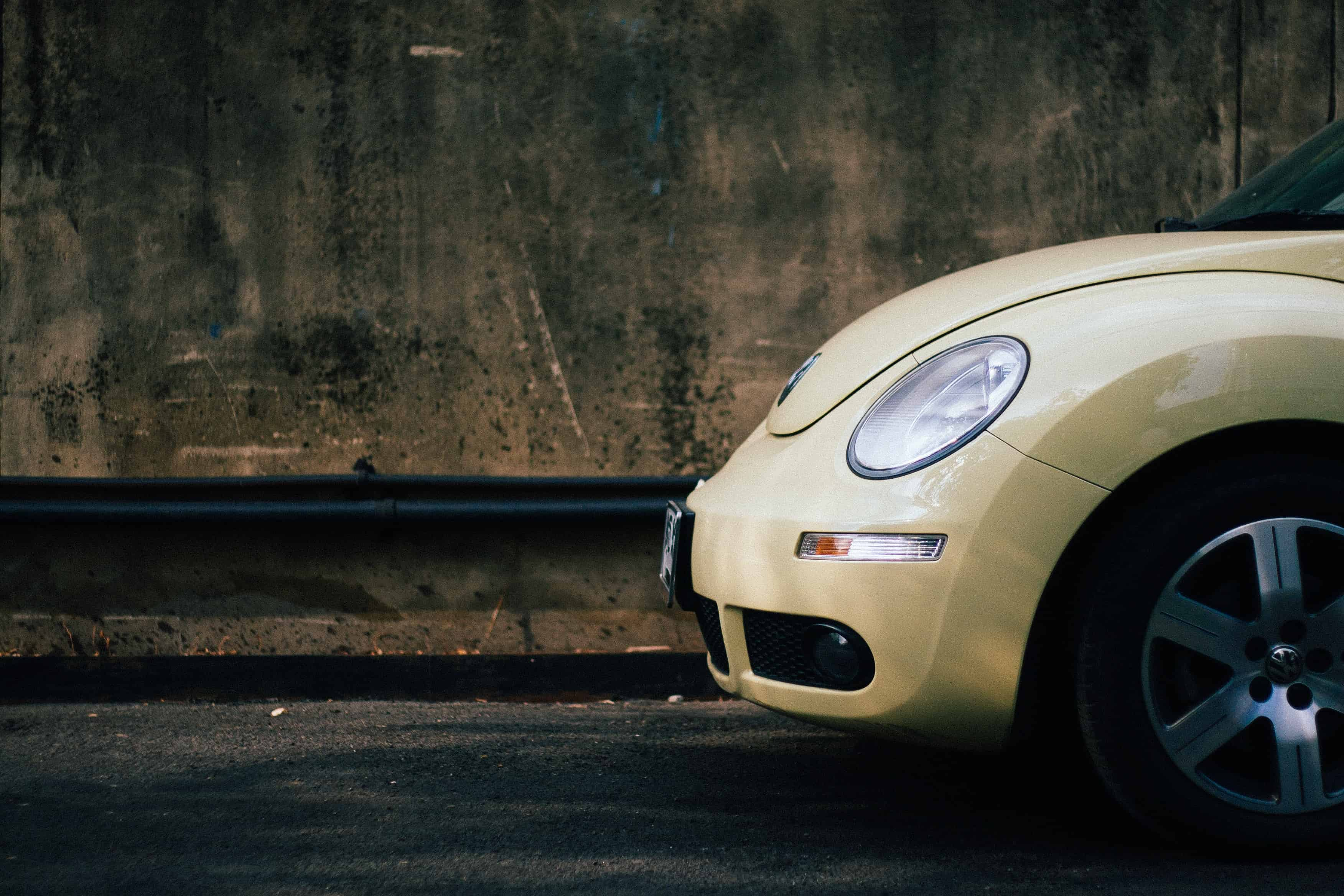 yellow beetle car front