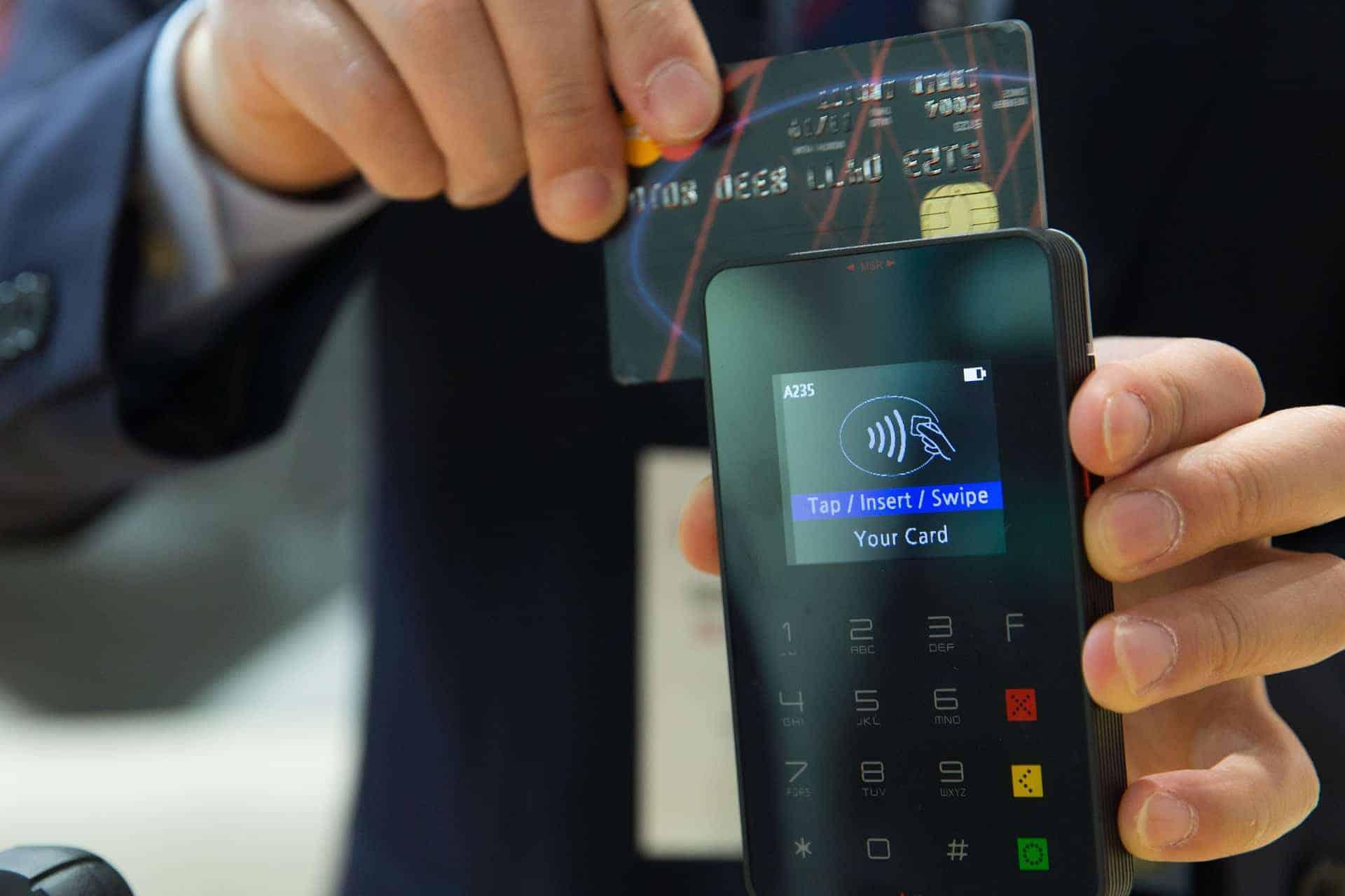 swipe on a phone card reader