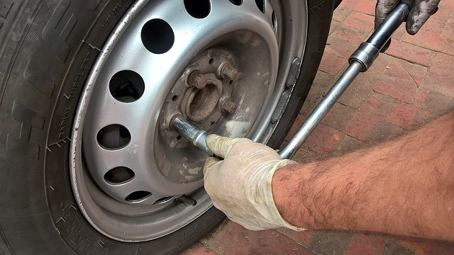 car wheel being taken off