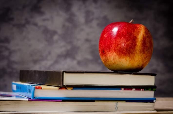 apple and schoolbooks
