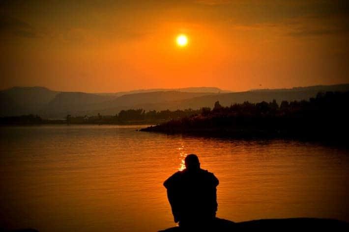 watching idyllic sunset