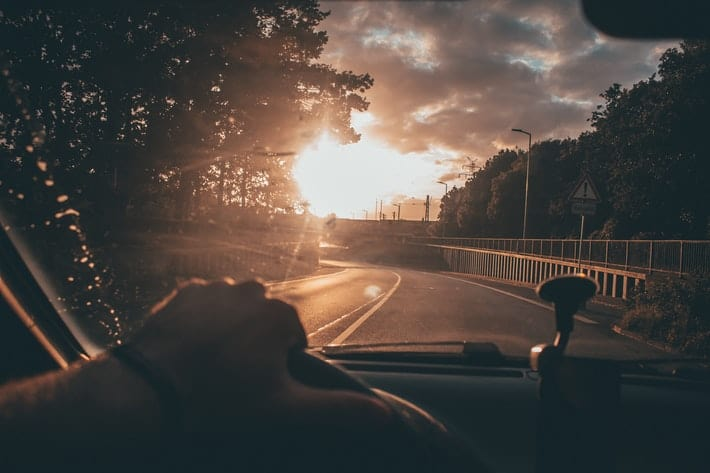 driving in sunrise